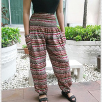 Zen Yoga Pants Baggy Boho Hobo Printed Hippie Gypsy Tribal Aladdin Fisherman Clothing Beach Baggy Casual Tank Trousers Dress Beach