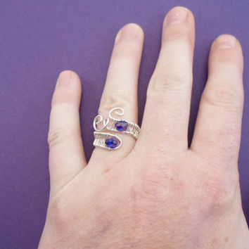 Sterling Silver 925 and Swarovski Crystal ring. Gemstone. Wire wraped, Adjustable.