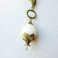 White Glass & Floral Bronze Pendant Victorian Style Necklace