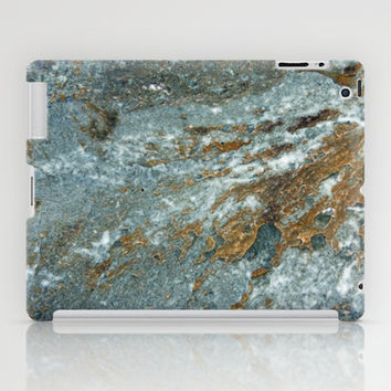Earthy Blue and Gold Rock iPad Case by Brooke Ryan Photography