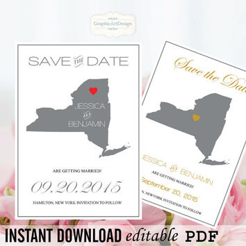 New York State Map Save the Date Editable PDF Templates - New York Grey State Map Save the Date Printable - Instant Download - DIY You Print