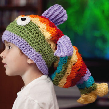 Crochet Fish Hat Slouchy Hat