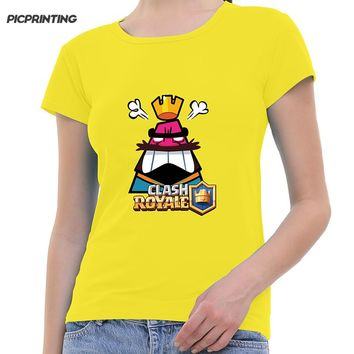 2018 Spring Fashion Game Clash Royale Print T shirt For Women Many Colors Round Neck Modal Girl T-shirt Custom Pattern Tops Tees