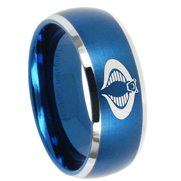 10mm Cobra Dome Brushed Blue 2 Tone Tungsten Carbide Engagement Ring