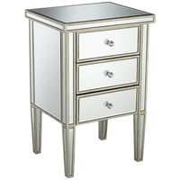 Antique Silver 3-Drawer Mirrored Nightstand - #X0191 | LampsPlus.com