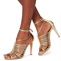 Aquazzura Nadja Strappy Gold Leather Sandals - INTERMIX®