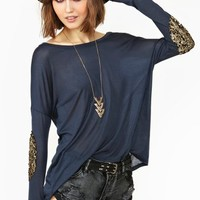 Sequin Dolman Tee - Navy