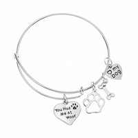 Dog Charm Bracelet - Paw Print Jewelry- Dog Lovers Bracelet- Dog Owner Bangle -Perfect Gift for Dog Lovers