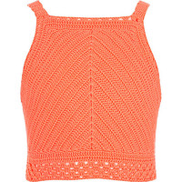 Girls coral crochet crop top