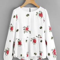 Flower Embroidered Smock Top WHITE