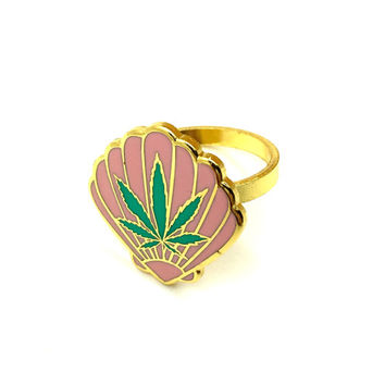 Sea Weed Enamel Ring