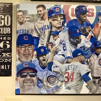 Two cubs Framed Canvas ManCave Wall Swag