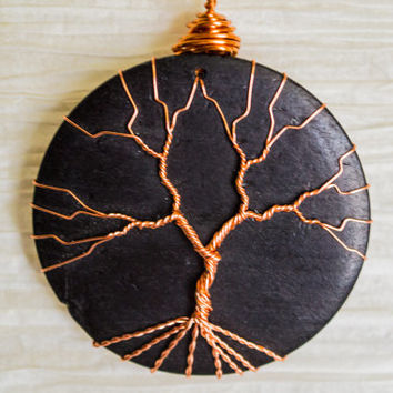 Copper Wire Wrapped Tree of Life pendant Wood Slice