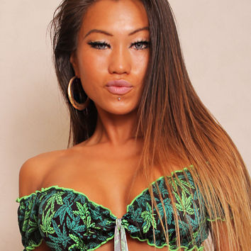 Rufffled Crop Top Marijuana Print-Dance Wear