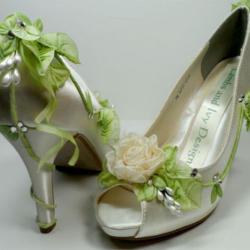Ivory  Rose Fairytale  High Heels Wedding Shoes, Faerie tale Princess Bride's Shoes, Peeptoe Garden Wedding Shoes,