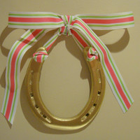 Lucky Gold Horseshoe-Hand Painted Gold with Pink, White  & Green Preppy Stripe Grosgrain Ribbon-Preppy College Dorm Room Gift