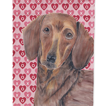 Dachshund Hearts Love and Valentine's Day Portrait Flag Garden Size