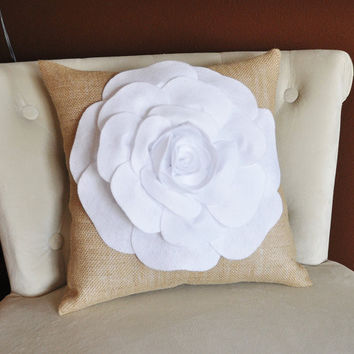 Burlap Pillow - White Rose Pillow, Accent Pillow, Throw Pillow, Decorative Pillow