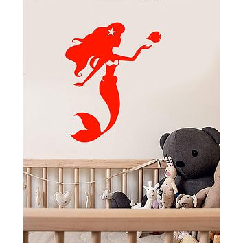 Vinyl Wall Decal Cartoon Mermaid Ariel Fish Nursery Decor Stickers Unique Gift (1623ig)