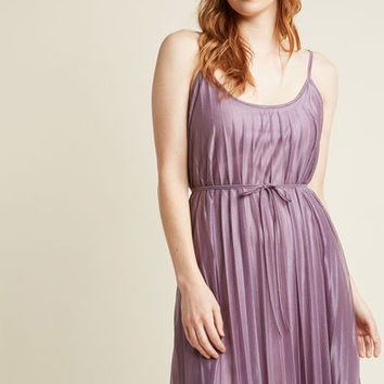 Glitzy Miss Pleated Shift Dress in Lilac