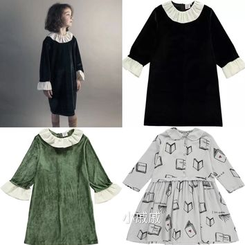 Beau Loves Baby Girls Long Sleeves Dress Tight 2018 Autumn Kids Clothes Princess Party Lace Dress Bobo Choses Girl Retro Clothes