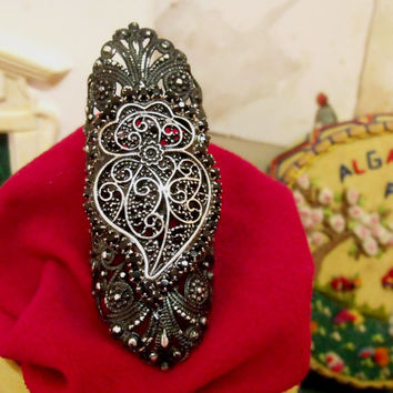 Portugal Viana Heart rhinestones ring gothic folk Portuguese filigree style jewelry statement ring adjustable