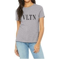 "Valentino Trending Women Men Casual ""VLTN"" Letter Print Short Sleeve Pullover Top T-Shirt"