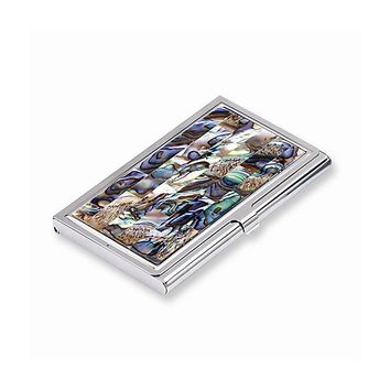 Abalone Mother of Pearl Business Card Holder - Engravable Personalized Gift Item