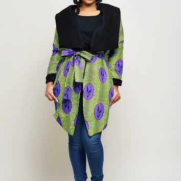 Taraja Women's African Print Reversible Blanket Jacket (Purple/Green Birds)