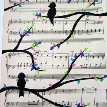 love birds on tree branch vintage sheet music art painting 8x10 black with pink purple green and teal leaves