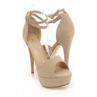 Taupe Faux Leather Peep Toe Strappy Heels