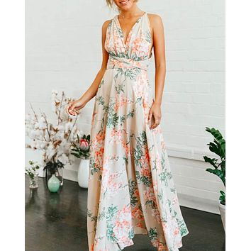 at first glance - floral wrap maxi dress - mocha