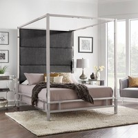 Evert Chrome Metal Canopy Bed with Panel Headboard - Inspire Q