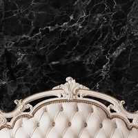 CREAM IVORY BED TUFTED HEADBOARD WITH BLACK MARBLE WALL PRINTED BACKDROP - 6x8 - LCPC6203 - LAST CALL
