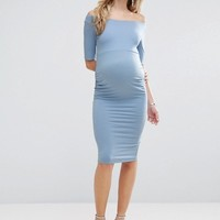 ASOS Maternity Bardot Dress With Half Sleeve at asos.com