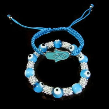 Evil Eye light blue with glass Beads & Hamsa hand macrame bracelet gift set