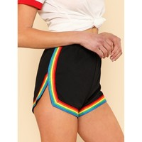 Rainbow Tape Trim Dolphin Shorts