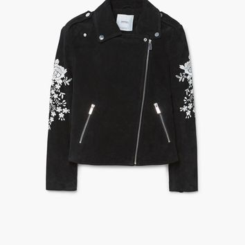 Embroidery suede jacket