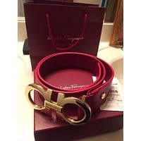 Ferragamo Trending Women Men Smooth Buckle Red Leather Belt I/A