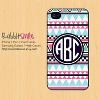 Personalized Aztec iPhone 5 Case, Monogrammed Tribal iPhone 4 case, Colorful Monogram Geometric iPhone 4s Cover. Custom Triangle Cases