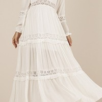 Instant Karma White Long Sleeve V Neck Lace Trim A Line Casual Maxi Dress - Sold Out