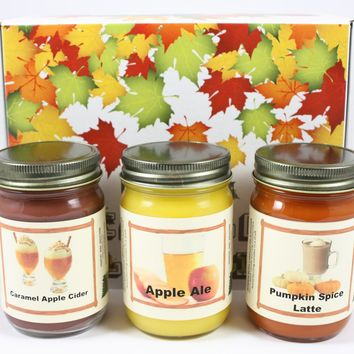 "Fall Scented Candle Collection Set, ""Fall Breakfast"" - Pumpkin Spice Latte, Apple Cider Donut, Pumpkin Pancake, Three 12 Ounce Candles"