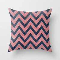 pink and navy chevron Throw Pillow by her art