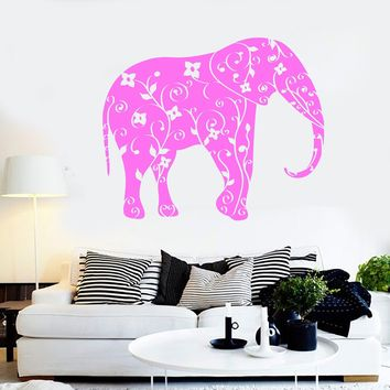 Vinyl Wall Decal Elephant Animal Floral Ornament Stickers Mural Unique Gift (ig4401)