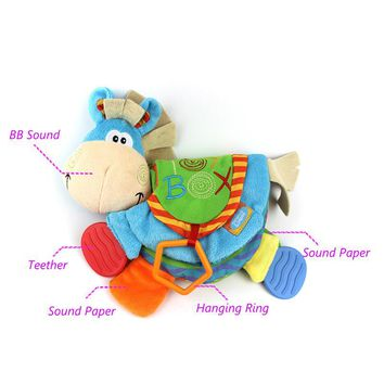 Infant Teether Donkey Soft  Quiet Cloth Books Goodnight Educational Baby Bed Bell Stroller Crib Rattles Toys For Kids Gift D002