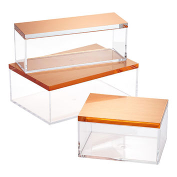 Clear Boxes with Brushed Copper Lids