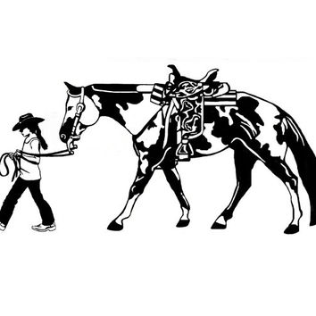 Horse Wall Decal Girl Horse Rider Sticker Teen Girls Western Wall Decor Dorm Room Decal Mustang Pony Vinyl Decal 20 X 40 inches