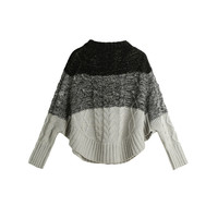 Grey Color Contrast Bat Sleeve Irregular Hem Knitted Sweater with Loose Warm Feel Pullover Jumper