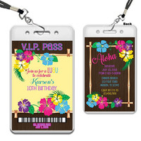 Luau Birthday VIP Pass Invitations - Luau Party Invites - Lanyard Invitations - Girl Aloha Birthday Party Favors - Hawaiian Birthday Invite
