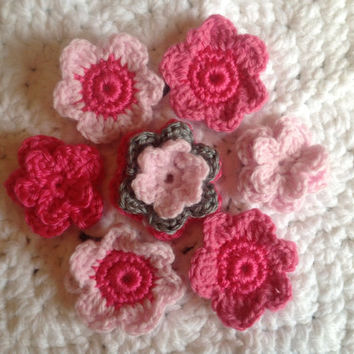 Hand Crochet Flower Valentines Appliques Embellishments Set of 7- Heather Grey Hot Pink Bubblegum Pink and Cotton Candy Pink